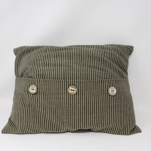 Olive Green and Black Striped Pillow with Buttons